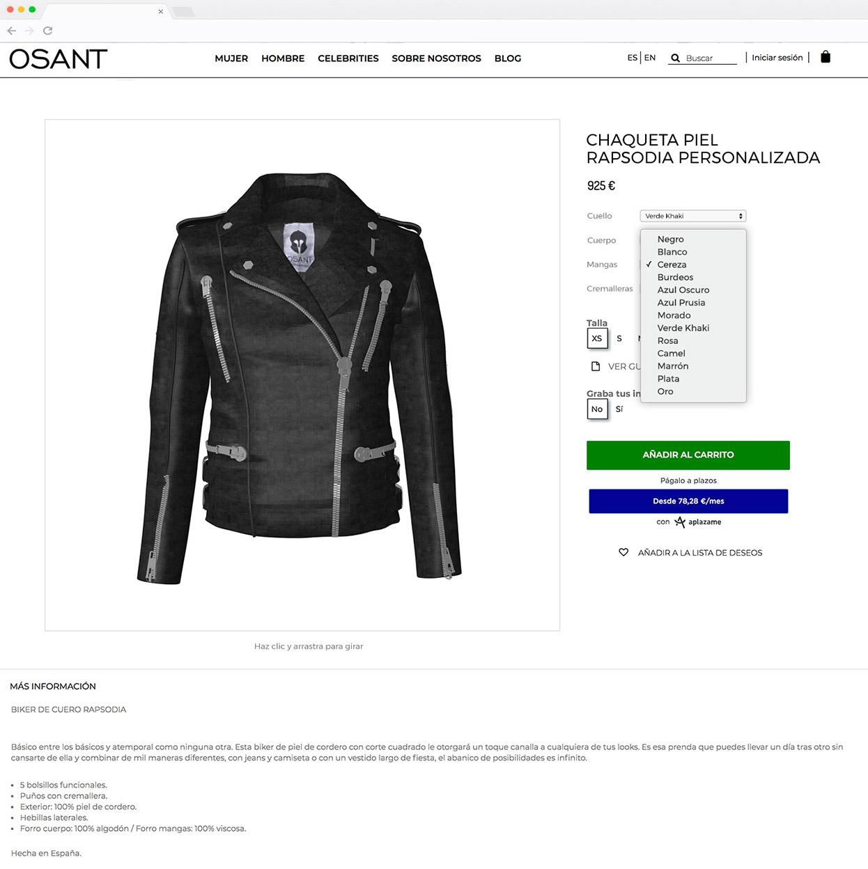 Tienda online - configurador Osant